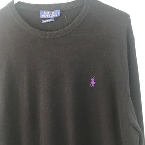 NWT Polo Ralph Lauren 100% Wool Black Sweater
